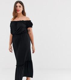 Черное платье макси с открытыми плечами New Look Curve - Черный