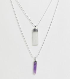 Ожерелье с двумя подвесками с аметистом и селенитом Aura Crystals by Calum Best - Серебряный