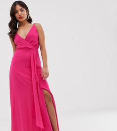 Платье макси цвета фуксии на бретельках с запахом и годе TFNC Petite - Розовый