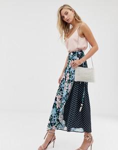 Комбинируемая юбка в горошек с запахом и цветочным принтом Liquorish - Мульти