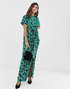 Зеленое платье макси с леопардовым принтом и разрезом Liquorish - Зеленый