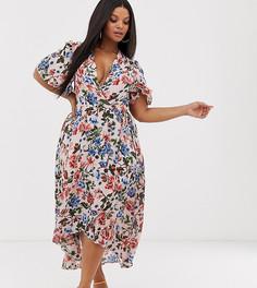 Платье миди с запахом и цветочным принтом Missguided Plus - Мульти