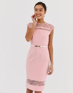 Белое платье миди с кружевом и поясом Paper Dolls - Розовый