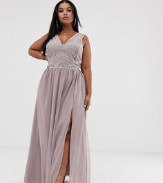 Платье макси с жемчужной отделкой на лифе и юбкой из тюля ASOS DESIGN Curve - Мульти