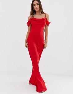 Платье макси с широким свободным воротом Club L - Красный