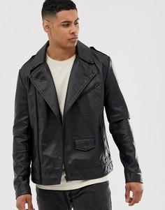 Черная кожаная байкерская куртка ASOS DESIGN - Черный