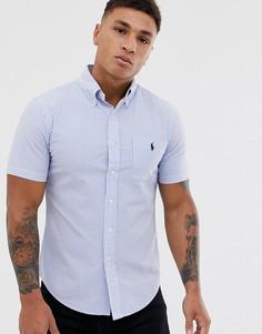 Синяя/белая приталенная рубашка из легкой жатой ткани в полоску с короткими рукавами, карманом и логотипом игрок в поло Polo Ralph Lauren - Синий