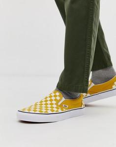 Желтые кеды-слипоны в шахматную клетку Vans - Желтый