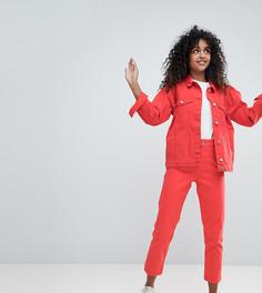 Красные джинсы в винтажном стиле с завышенной талией Monki Taiki - Красный
