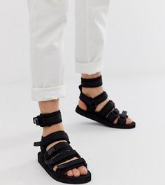 Черные сандалии для широкой стопы с ремешками с застежками-липучками ASOS DESIGN - Черный