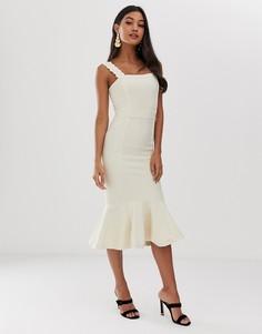 Бандажное платье-футляр с оборкой ASOS DESIGN - Кремовый
