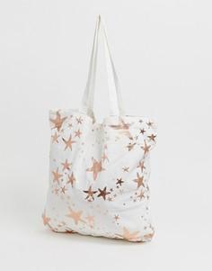 d38ab85c99581 Большая пляжная сумка-тоут из хлопка с золотисто-розовыми морскими звездами  ASOS DESIGN print