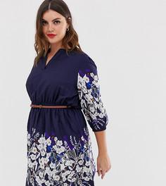 Платье с цветочным принтом, поясом и рукавами 3/4 Yumi Plus - Темно-синий