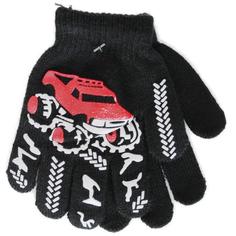 Перчатки детские Однослойные для мальчиков, черны с рисунком Джип Принчипесса
