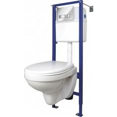 Комплект унитаза Cersanit Delfi Vector Movi унитаз, инсталляция, сиденье микролифт, кнопка матовый хром (SET-DEL/Vec/TPL/Mo-Cm-w)
