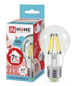 Лампочка IN HOME LED-A60-deco E27 7W 4000K 230V 630Lm Clear 4690612008059