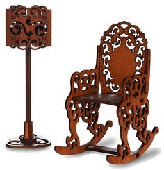 Качалка и торшер для кукольного домика ЯиГрушка Brown 59418