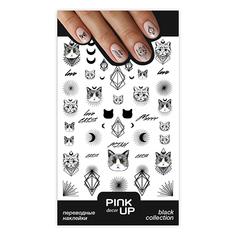 Наклейки для ногтей PINK UP DECOR BLACK переводные тон 646