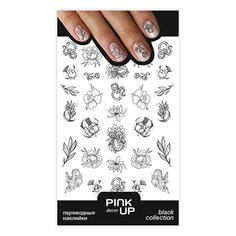 Наклейки для ногтей PINK UP DECOR BLACK переводные тон 643