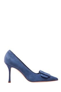 Темно-синие замшевые туфли Maysale Manolo Blahnik