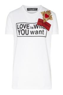 Футболка с надписью, логотипом и нашивкой Dolce&Gabbana