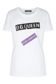 Футболка с черным и фиолетовым логотипами Dolce&Gabbana
