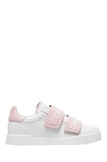 Розово-белые кроссовки на липучке Dolce&Gabbana