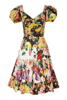 Платье с пионами и гортензией Dolce&Gabbana