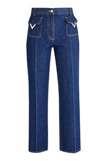 Синие джинсы с отделкой Valentino