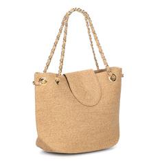 Сумки Бежевая пляжная сумка с золотой фурнитурой Fabretti