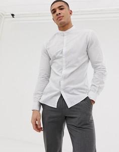 Приталенная синяя рубашка в полоску с воротником на пуговицах Celio - Белый