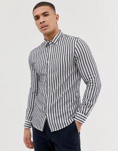 Белая приталенная рубашка в темно-синюю полоску с длинными рукавами Celio - Белый