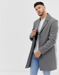 Серое полушерстяное пальто ASOS DESIGN - Серый