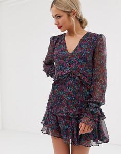 Платье мини с длинными рукавами и цветочным принтом Stevie May mercy - Мульти