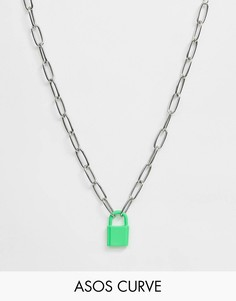 Серебристое ожерелье-цепочка с окрашенной подвеской в форме замочка ASOS DESIGN Curve - Серебряный