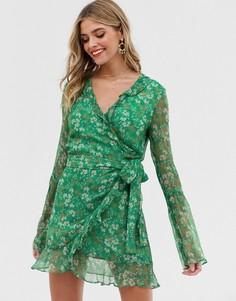 Платье мини с длинными рукавами и запахом Stevie May - Зеленый