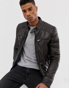 Кожаная байкерская куртка с 4 карманами Barneys Originals - Коричневый