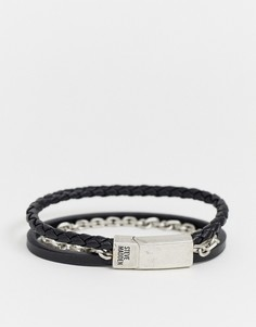 Черный мужской кожаный браслет с цепочкой Steve Madden - Черный