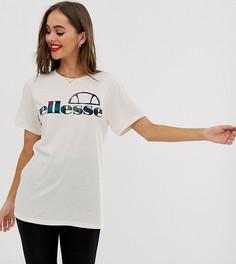 Свободная футболка с пальмовым принтом и логотипом Ellesse recycled - Бежевый