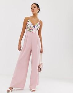 Розовый комбинезон с широкими штанинами и запахом Paper Dolls - Мульти
