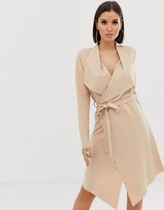 Пиджак с каскадной драпировкой и поясом Lipsy - Розовый