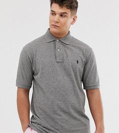 Темно-серая меланжевая футболка-поло из ткани пике Polo Ralph Lauren Big & Tall - Серый