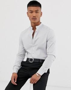 Светло-серая приталенная рубашка с воротником-стойкой ASOS DESIGN - Серый
