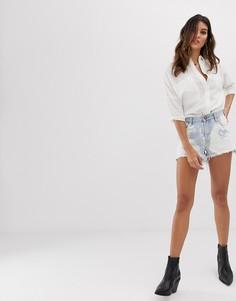 Джинсовые шорты с выбеленным эффектом One Teaspoon - Синий