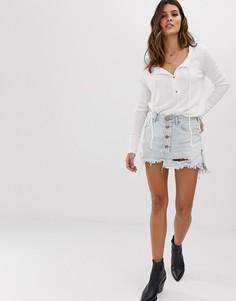 Джинсовая мини-юбка с пуговицами One Teaspoon - Синий