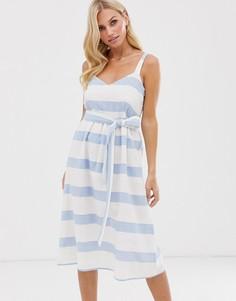 Бело-голубое льняное платье миди в полоску с завязкой на талии Esprit - Мульти