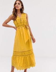 Желтое платье миди с вышивкой ришелье и завязкой Esprit - Желтый