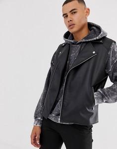 Черная куртка без рукавов из искусственной кожи ASOS DESIGN - Черный