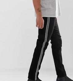 Черные облегающие джинсы с заклепками по бокам Heart & Dagger - Черный