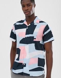 Рубашка с отложным воротником и сплошным принтом Selected Homme - Белый